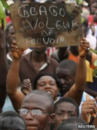 Pro-Ouattara supporters in Bouake (5/12/10)