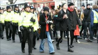 Students marching in Cheltenham
