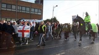 Protestors in Peterborough