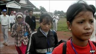 Vietnamese Montagnards are airlifted to Phnom Penh in 2004