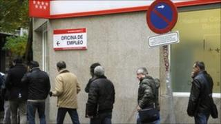 Queue at Spanish unemployment office