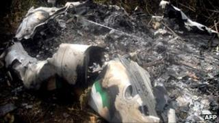 Part of the wreckage of the ATR 72-212 Aerocaribbean airliner that crashed in central Cuba, 5 November 2010