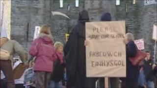 Protest at Caernarfon Castle