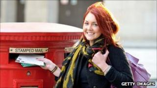 Actress Lacey Turner promotes the Royal Mail's Christmas deliveries deadline