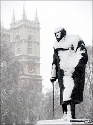 Churchill statue covered in snow