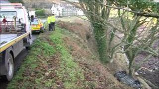 Car over the cliff at Archirondel