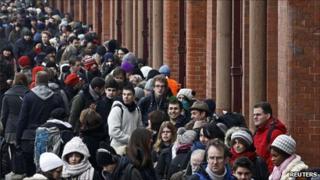 Passengers in the Eurostar queue