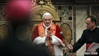 Pope Benedict XVI delivers his Christmas message to the Curia in the Vatican's Regia Hall, 20 December 2010