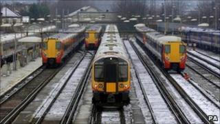 Trains parked at Clapham Junction station in London