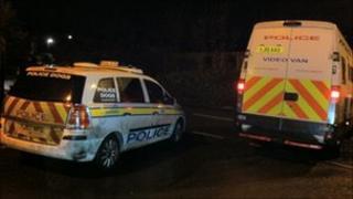 Police vehicles at siege in Kirkheaton, Huddersfield