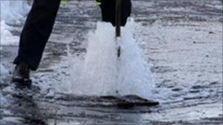 Burst water mains