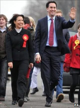 Ed Miliband with Debbie Abrahams in Oldham