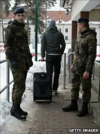 A new recruit arrives at Julius Leber barracks in Berlin, Germany (3 Jan 2011)