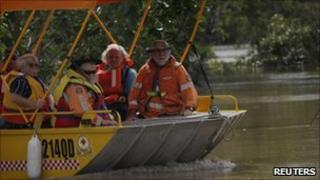 Emergency workers on boat in Rockhampton, Queensland