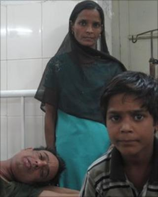Cancer patient Firoj, his wife Indira and son