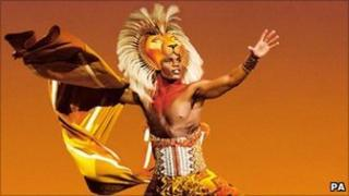 Andile Gumbi as Simba in The Lion King