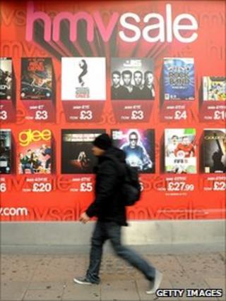 HMV sale advertisement, Oxford Street, London, 5 January 2010