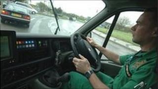 Paramedic in ambulance generic
