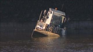 The truck in the water