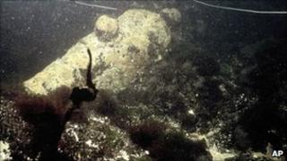 A submerged cannon divers have said belongs to the USS Revenge