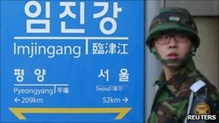 South Korean Army soldier near demilitarised zone