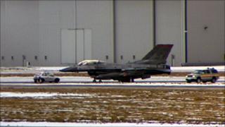 F16 jet on runway at Prestwick