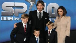 David and Victoria Beckham with sons Brooklyn, Cruz and Romeo (front left to right)
