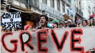 Protestors in Lisbon in November 2010
