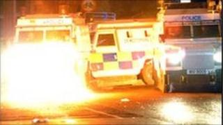 Police vehicles were attacked during the trouble