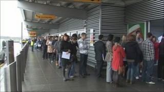 The queue for the job fair