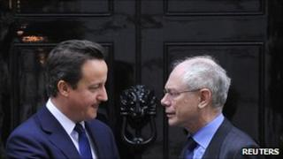 European Council President Herman van Rompuy (R) with British Prime Minister David Cameron
