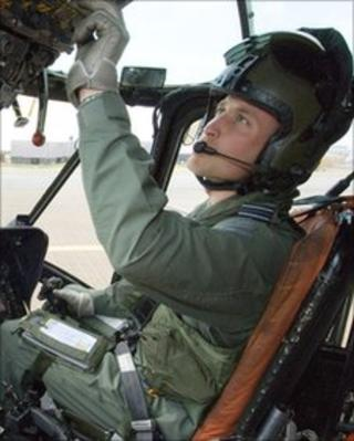 Prince William in the seat of a Sea King helicopter at RAF Valley, Anglesey