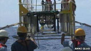 Researchers launching the submersible (Image: Anni Glud)