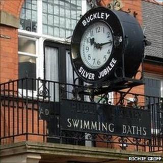 Buckley baths sign and clock