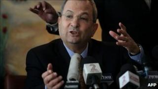 Israeli Defence Minister Ehud Barak announces to media he is leaving the Labour party