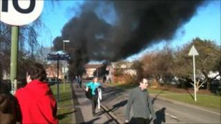 Lectures at the University of Worcester were disrupted by the lorry fire