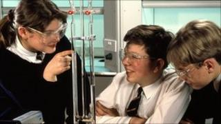 Students conduct science experiment
