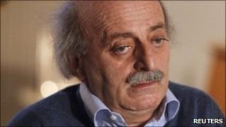 Lebanese Druze leader Walid Jumblatt speaks during a news conference at his residence in Beirut