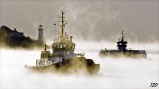Ferry and tug in Nova Scotia