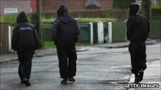 Youths on an estate in Manchester