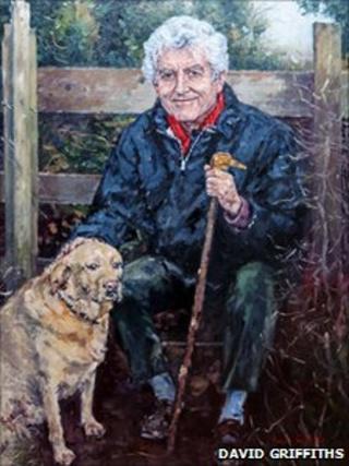 Painting of Rhodri Morgan and his dog