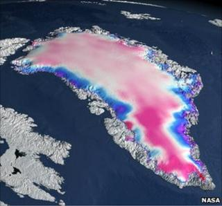 Satellite imagery of Greenland icecap