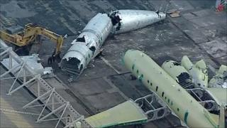 Overhead shot of scrapped Nimrod aircraft