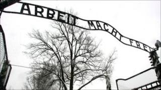 The entrance gate of the Auschwitz Nazi concentration camp in Oswiecim, southern Poland