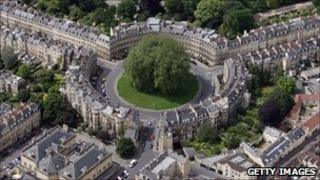 Aerial view of The Circus in Bath