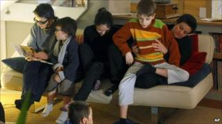 Corinne Cestino (left) and Sophie Hasslauer with their four children in Val de Vesle, France, 24 January