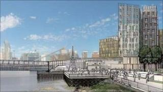 Artist's impression of Enderby Wharf development