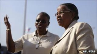 Haitian presidential candidate Mirlande Manigat (Right) attends the commencement of operations of the E-Power company in Port-au-Prince, 13 January 2011