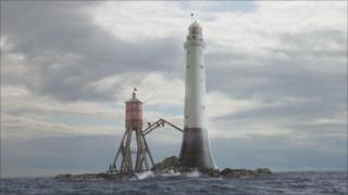 Computer-generated image of the construction of the Bell Rock Lighthouse
