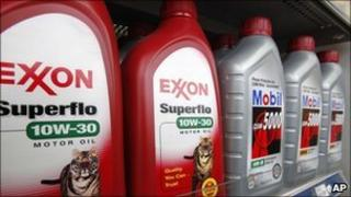 Exxon and Mobil oil products on display